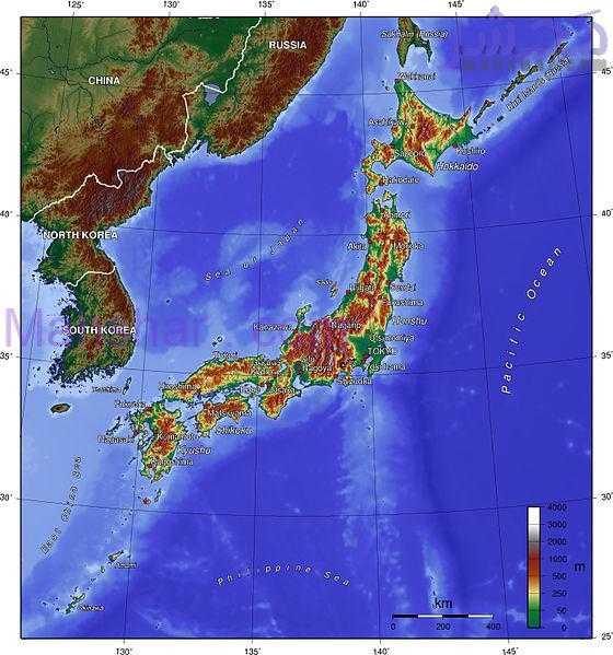 نقشه توپوگرافی از کشور ژاپن