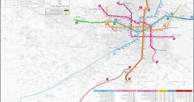 مترو تهران روی نقشه تهران